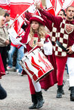 Young Girl Drummer in medieval reenactment costumes Stock Photo