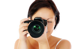 Young girl with DSLR Royalty Free Stock Image