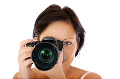 Young girl with DSLR Stock Image