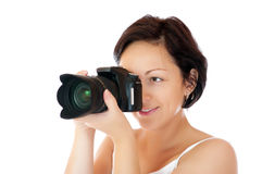 Young girl with DSLR Royalty Free Stock Images