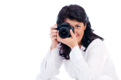 Young girl with DSLR Royalty Free Stock Photography