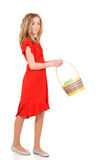 Young girl with easter basket. On white background Stock Images