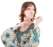 Young girl in eastern dress Stock Photos