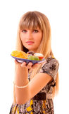 Young girl eat fruit jelly isolated Royalty Free Stock Photography
