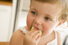 Young girl eating apple indoors. Looking off camera Royalty Free Stock Photography