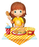 A young girl eating at the fastfood restaurant vector illustration
