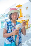 Young girl eating ice cream Royalty Free Stock Photos