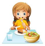 A young girl eating royalty free illustration