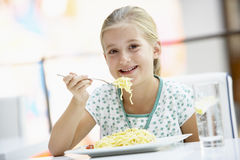 Young Girl Eating Lunch At A Cafe Royalty Free Stock Photography