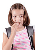 Young girl eats chocolate Royalty Free Stock Images