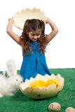 Young girl with egg shape and chicks inside Stock Photography
