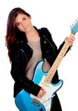 Young girl with electric guitar Royalty Free Stock Photo