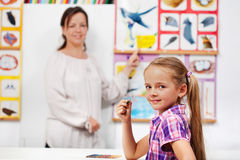 Young girl in elementary science class Royalty Free Stock Images