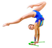 Young girl engaged art gymnastic Royalty Free Stock Photo