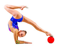 Young girl engaged art gymnastic Royalty Free Stock Photography