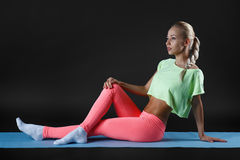 The young girl engaged in fitness Royalty Free Stock Photo