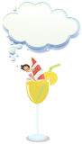 A young girl enjoying above the glass of juice with an empty clo. Illustration of a young girl enjoying above the glass of juice with an empty cloud template on Stock Photography