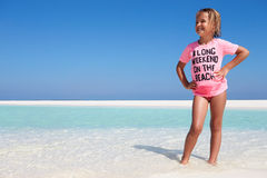 Young Girl Enjoying Beach Holiday Stock Images