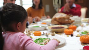 Young Girl Enjoying Family Thanksgiving Dinner Stock Photo