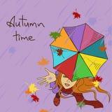 Young girl enjoying the rain royalty free illustration
