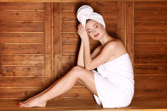 Young girl enjoying sauna Stock Photo