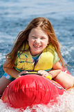 Young girl enjoying the tow Royalty Free Stock Images