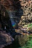 A young girl enjoys the rainbow at the lily pond lagoon close to Katherine Gorge, Australia Royalty Free Stock Images