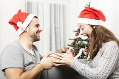 Young girl is excited about gift of boyfriend Stock Photo