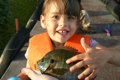 A young girl excited about her first sunfish. A young girl excitedly touches the first fish she has ever caught royalty free stock photos