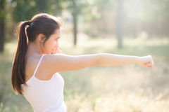 Young girl exercise Stock Image