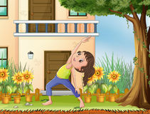 A young girl exercising in front of the house royalty free illustration