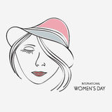 Young girl face in hat for International Womens Day. Royalty Free Stock Photo