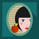 Young girl face in the mirror. Stock Images