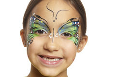 Young girl with face painting butterfly. Smiling on white background stock photos