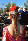 Young girl at Fair in Seville, Feast in Spain Stock Image