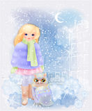 Young girl and fairytale owl in the snowy city. Stock Photography
