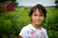 Young girl on a farm Stock Photography