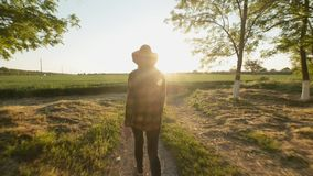 A young girl farmer in a hat goes among the trees to the field. Rays of the sun at sunset or dawn. Green field in stock footage
