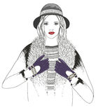 Young girl fashion illustration Royalty Free Stock Photography