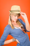 Young girl fashion outfit posing confident Stock Photography