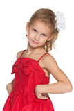 Young girl in a fashion red dress Royalty Free Stock Images