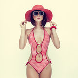 Young girl in fashionable swimsuit Royalty Free Stock Images