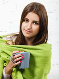 Young girl feel herself cold Royalty Free Stock Photography
