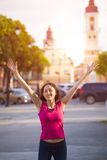 A young girl feels a sense of joy. Royalty Free Stock Photo