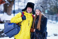 Young girl and fellow in winter in Trakai in Lithuania Stock Image