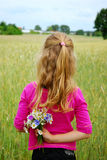 Young girl  on field Royalty Free Stock Photo