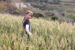 Young girl in a field Royalty Free Stock Image