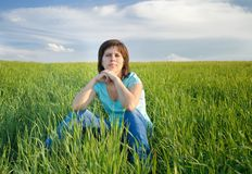 Young girl in a field Stock Photo