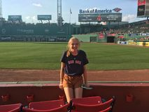 Young girl at Fenway park stock image