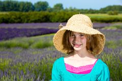 Young girl in a field of purple lavender Royalty Free Stock Image